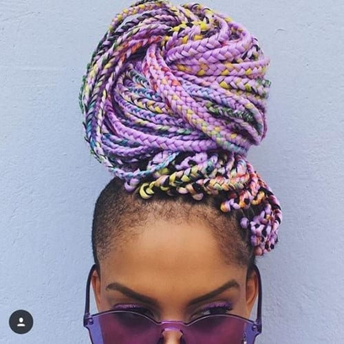 rainbow box braids updo