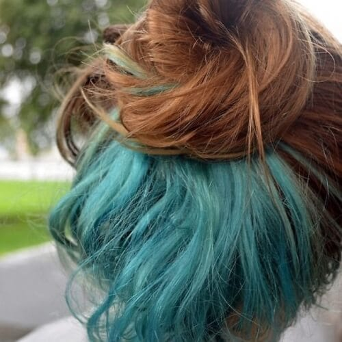 Auburn with Pale Turquoise Under Color