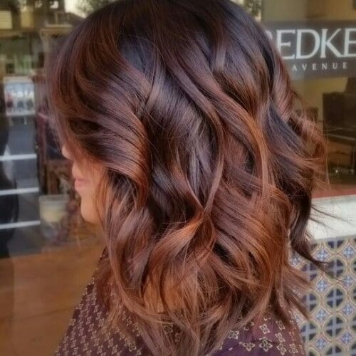 Balayage with Red Brown Hair