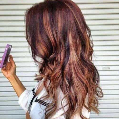 Copper and Caramel Highlights on Red Brown Hair