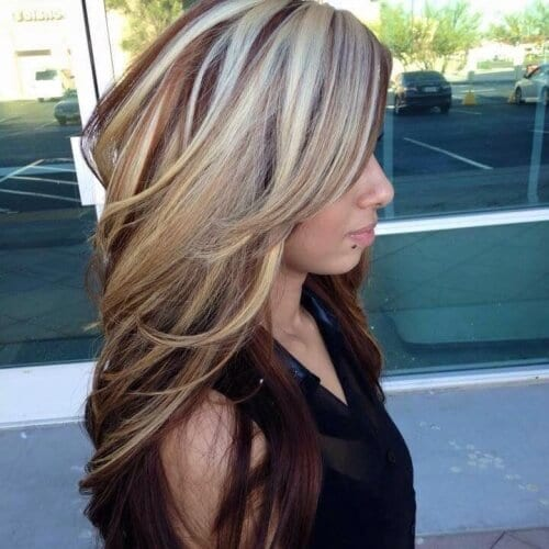 Dark Red Brown Hair with Platinum Overlay