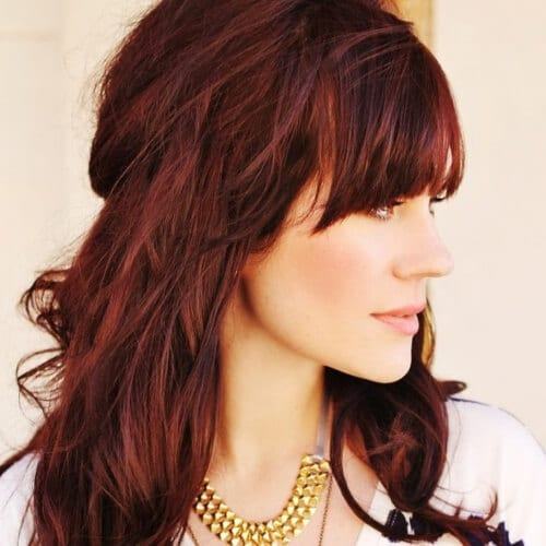Red Brown Hair with Bangs