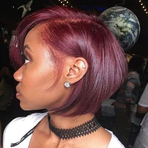 bob burgundy hair