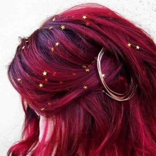 glamorous burgundy hair