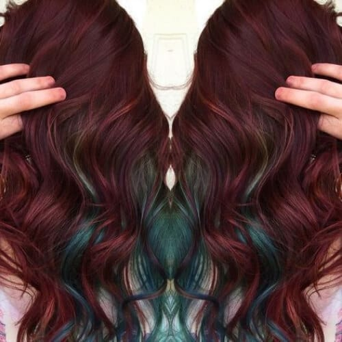 green burgundy hair
