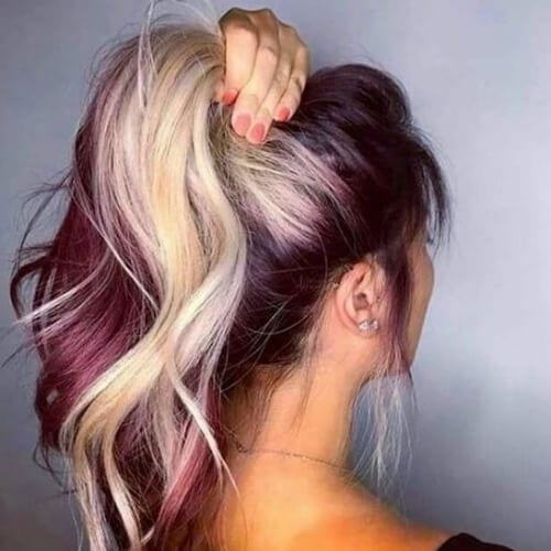 highlights burgundy hair