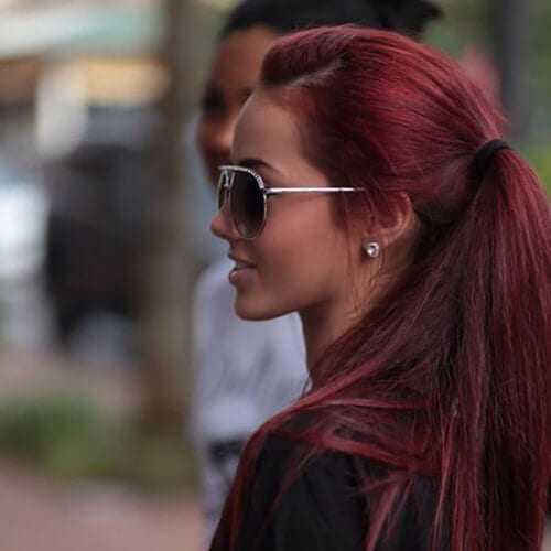 straight burgundy hair