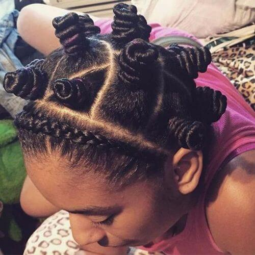 DIY bantu knots with woven bangs