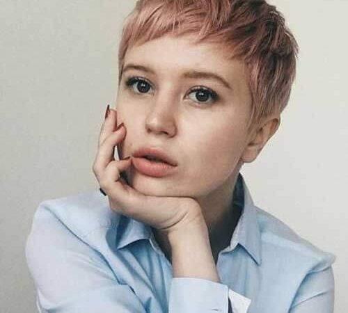 Dirty pink pixie haircut