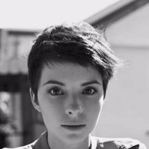 black and white picture of woman pixie cut
