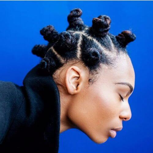 young woman bantu knots