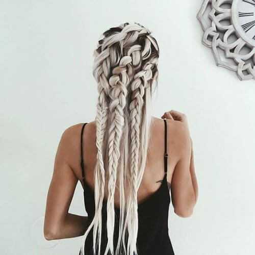 blonde woman with goddess braids