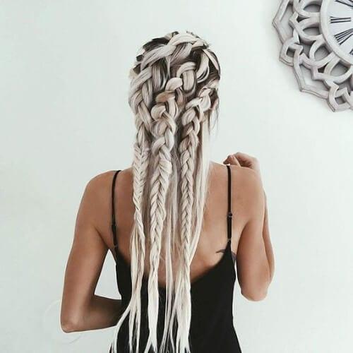 blonde woman with goddess braids