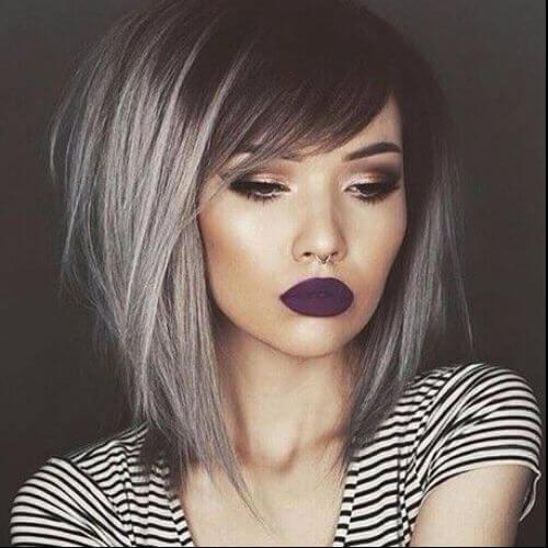 dark grey bob haircut