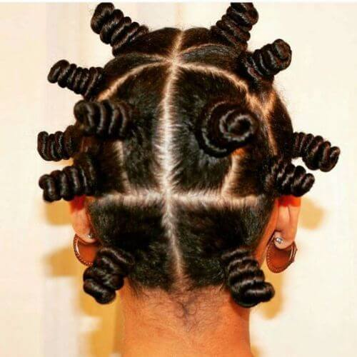 Woman with bantu knots
