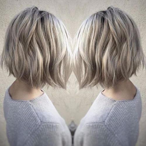 icy blonde bob haircut