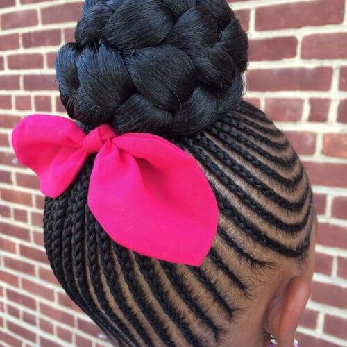 little girld goddess braids pink bow