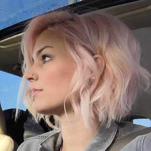 pink wavy bob haircut