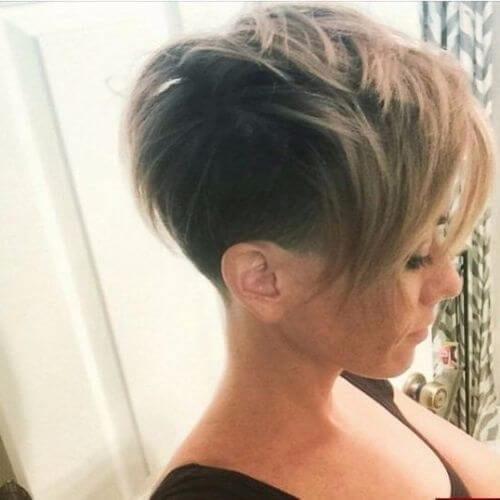 dark blonde pixie cut