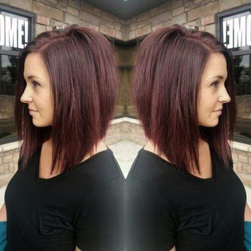 red brown shade bob haircut
