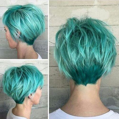 sea foam green pixie cut