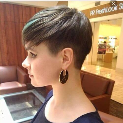 pixie cut and long bangs