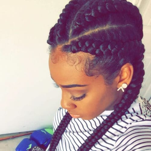 side view of girl with goddess braids