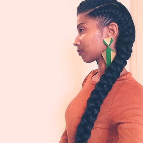 sideview girl with long goddess braids