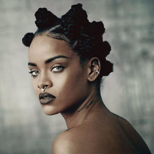 Young female with bantu knots