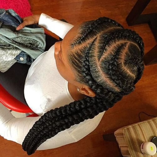 top view girl with zig zag goddess braids