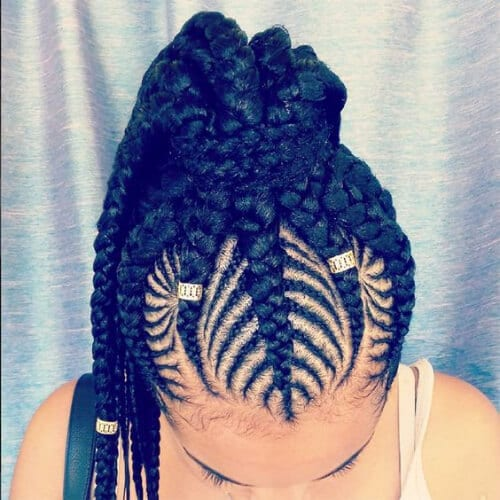 top view woman with goddess braids