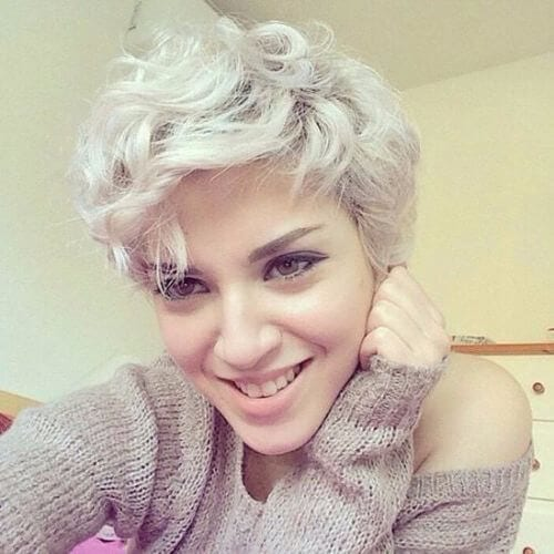 wavy and curly pixie cut