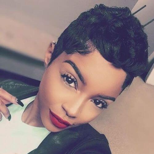 young mulatto woman pixie cut selfie