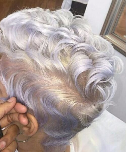 Gray hair and Lavender long pixie cut