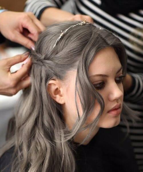balayage grey hair wire fence embellishment