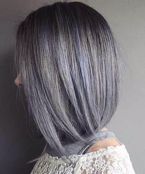bluish silver grey hair perfect bob