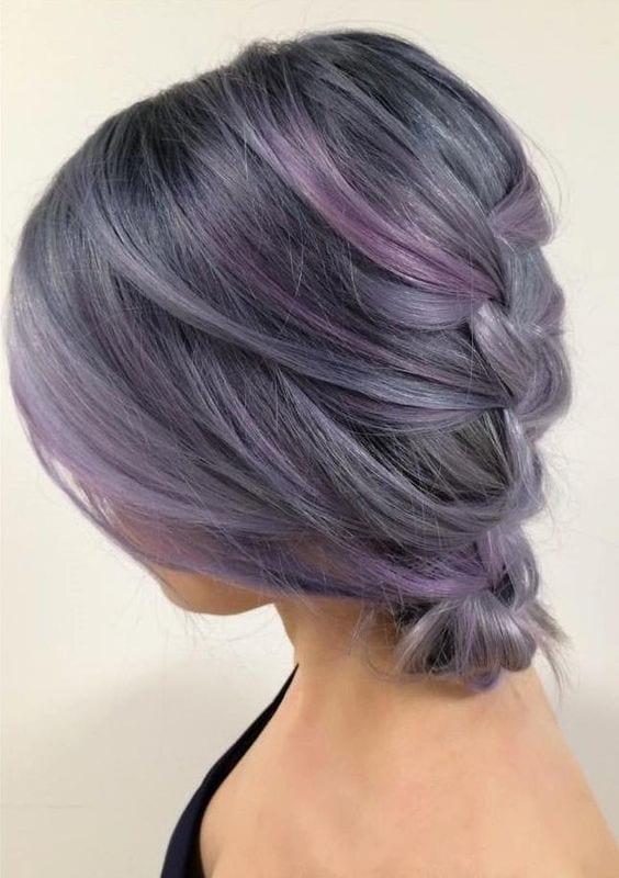 braided purple grey hair