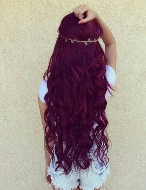 burgundy shade of purple hair