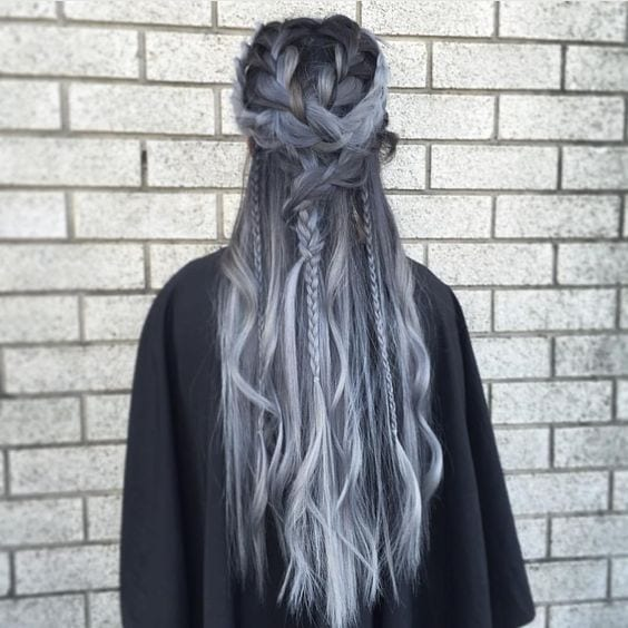 dark grey hair braided