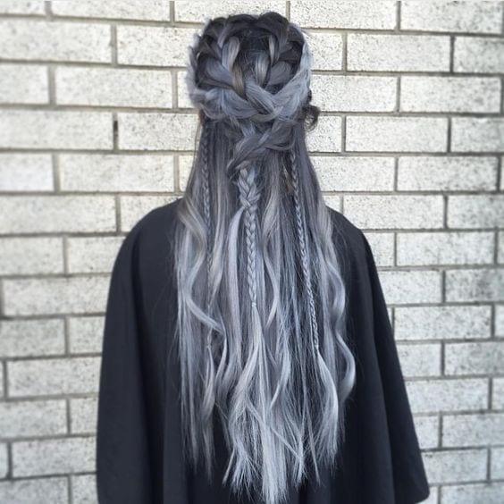 dark grey hair braided