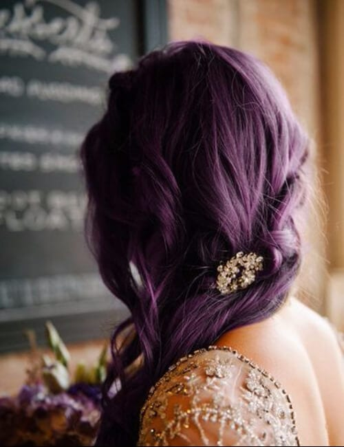 eggplant shade of purple hair with embellishments