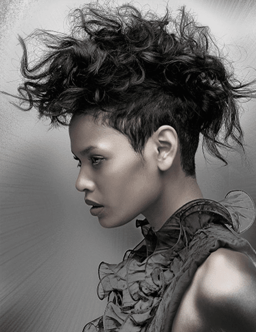 fierce punk mohawk short hairstyles for black women