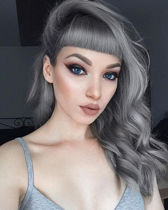 grey hair choppy minimal bangs