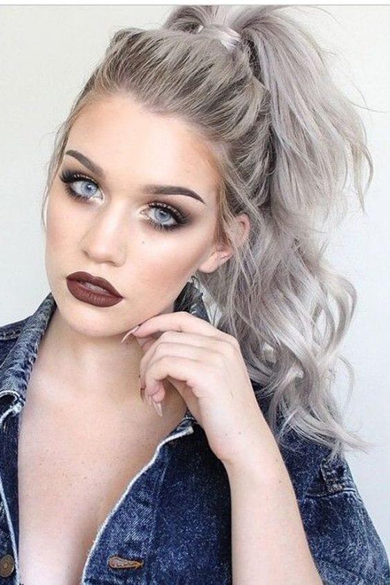 grey hair messy top ponytail