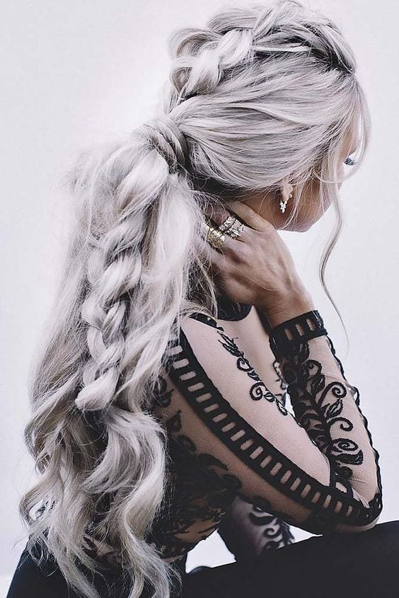 grey hair messy viking braid wedding hairstyles