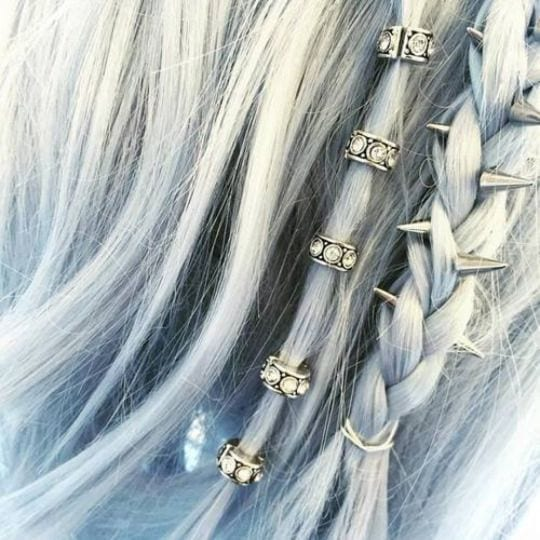 grey hair metal accessories spikes