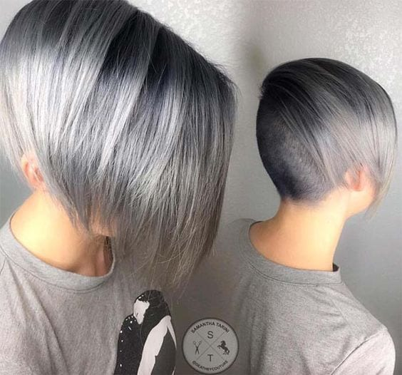 grey hair minimal bob shaved undercut