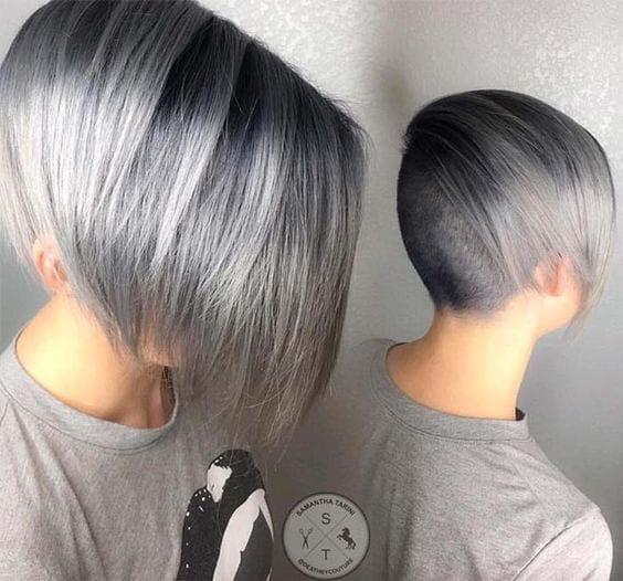 grey hair minimal bob shaved undercut