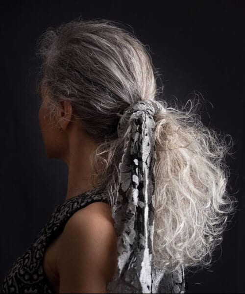 grey hair natural thick ponytail with scarf