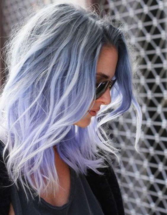 grey hair pastel ice blue